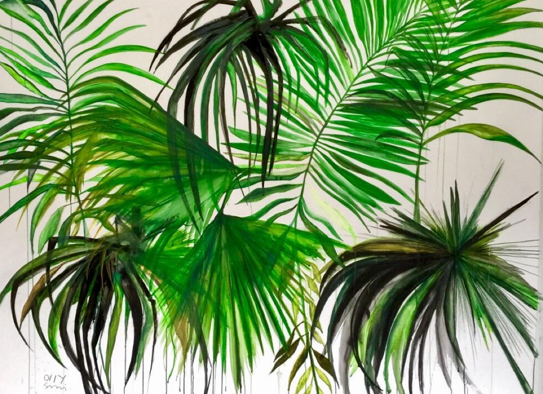 Three black palms